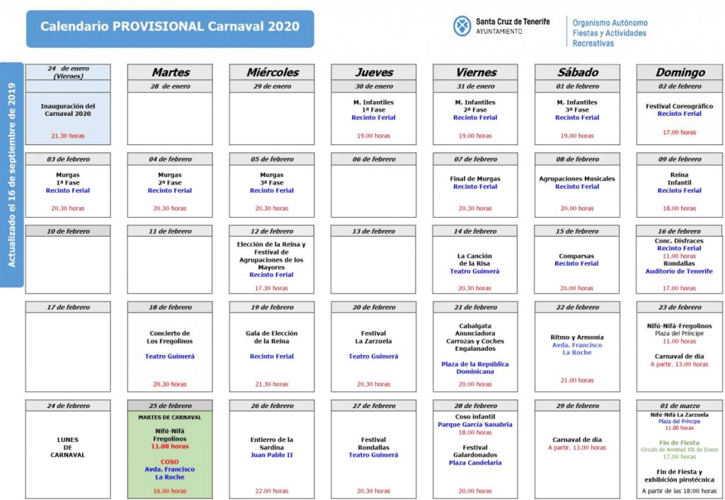 תוכנית הקרנבל בטנריף 2020